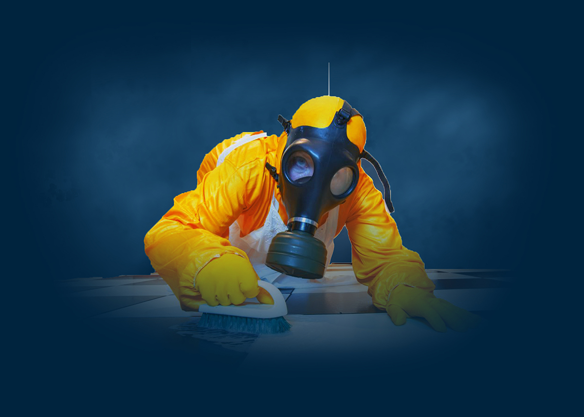 Cleaning And Sanitation With Full Protective Gear